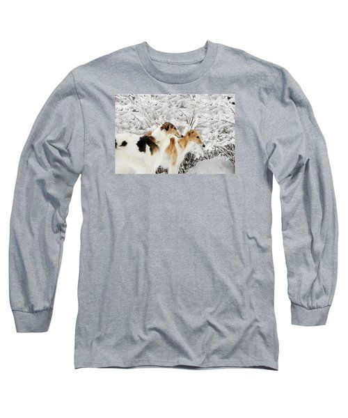giant Borzoi hounds in winter Long Sleeve T-Shirt by Christian Lagereek