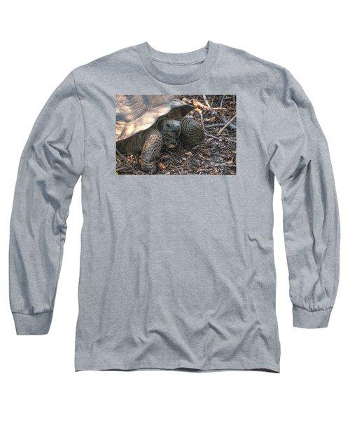 Giant Tortoise At Urbina Bay On Isabela Island  Galapagos Islands Long Sleeve T-Shirt
