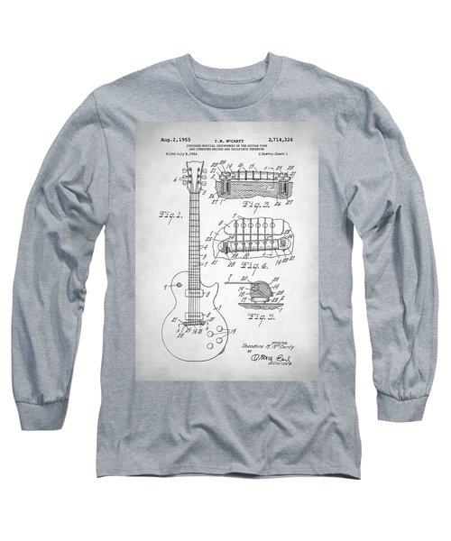 Gibson Les Paul Electric Guitar Patent Long Sleeve T-Shirt by Taylan Apukovska