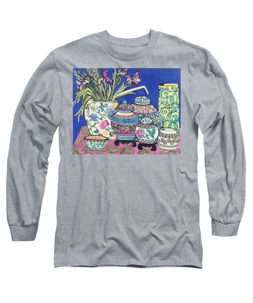 Ginger Jars Long Sleeve T-Shirt by Rosemary Aubut