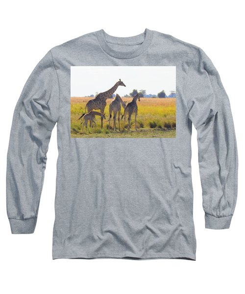 Long Sleeve T-Shirt featuring the photograph Giraffe Family by Betty-Anne McDonald