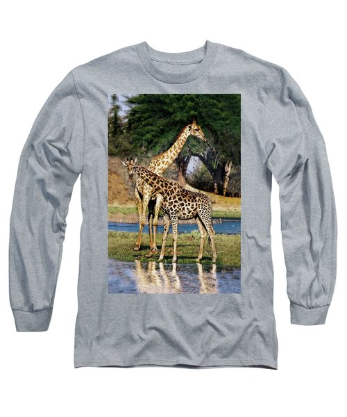 Giraffe Mother And Calf Long Sleeve T-Shirt