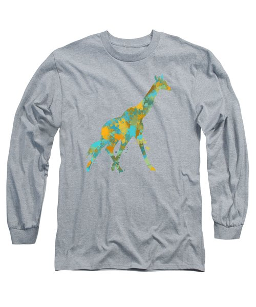Giraffe Watercolor Art Long Sleeve T-Shirt by Christina Rollo