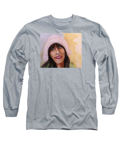 Long Sleeve T-Shirt featuring the painting Girl In Hat by Rand Swift