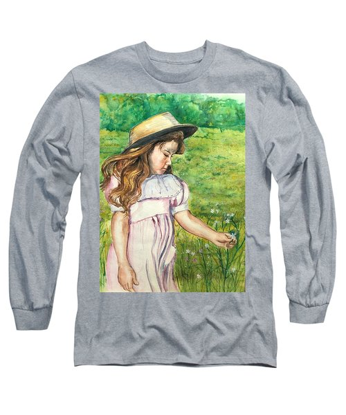 Girl In Straw Hat Long Sleeve T-Shirt