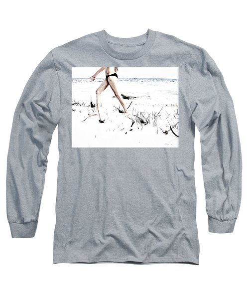Girl Walking On Beach Long Sleeve T-Shirt