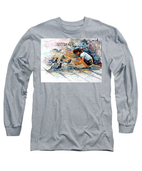 Long Sleeve T-Shirt featuring the painting Girl With Birds by Kovacs Anna Brigitta