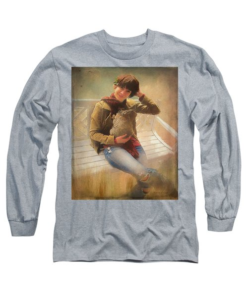 Long Sleeve T-Shirt featuring the photograph Girl With Rabbit by Bellesouth Studio