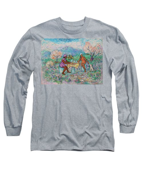 Long Sleeve T-Shirt featuring the painting Girlfriends' Teatime Iv by Xueling Zou