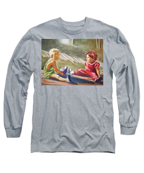 Long Sleeve T-Shirt featuring the painting Girls Playing Ball  by Marilyn Jacobson