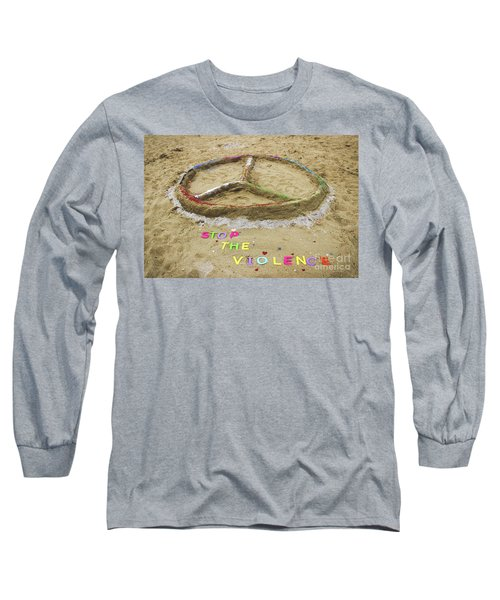 Long Sleeve T-Shirt featuring the photograph Give Peace A Chance - Sand Art by Colleen Kammerer
