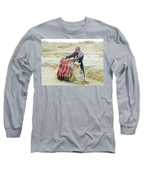 Long Sleeve T-Shirt featuring the photograph Giza Camel Taxi by Joseph Hendrix