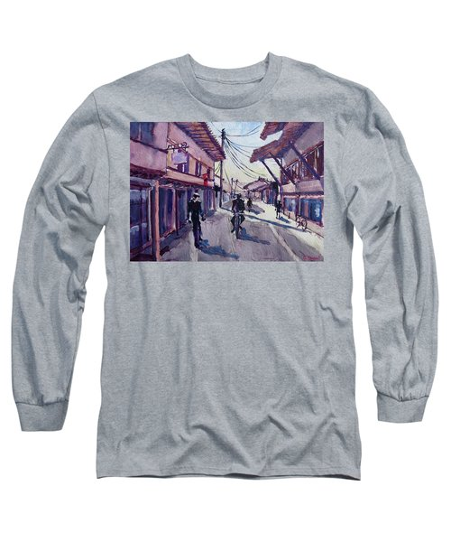 Long Sleeve T-Shirt featuring the painting Gjakova by Geni Gorani