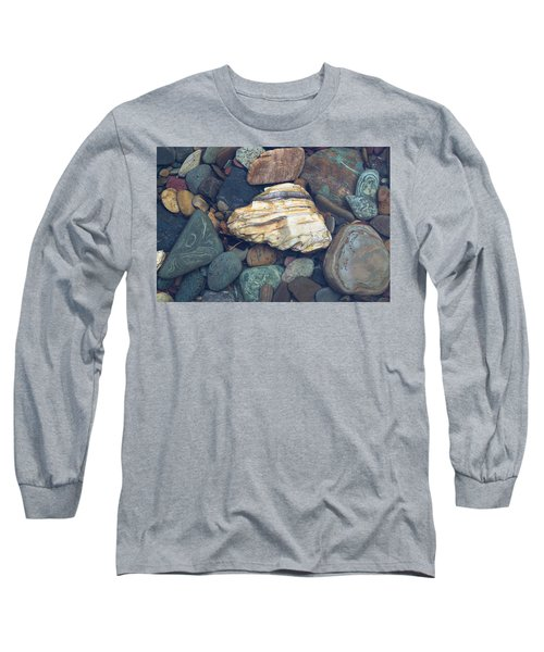 Glacier Park Creek Stones Submerged Long Sleeve T-Shirt