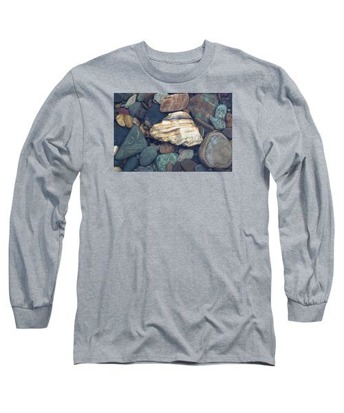 Glacier Park Creek Stones Submerged Long Sleeve T-Shirt