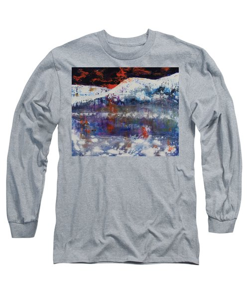 Long Sleeve T-Shirt featuring the painting Glacier Reflections by Walter Fahmy