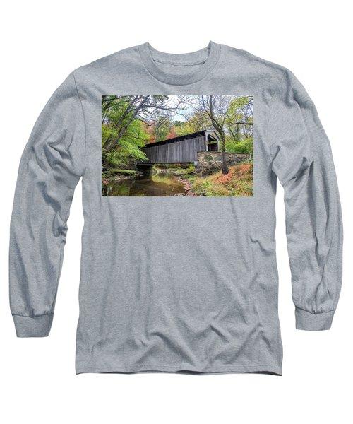Glen Hope Covered Brige During Autumn Long Sleeve T-Shirt