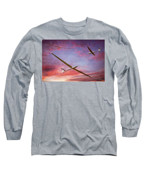 Gliders Over The Devil's Dyke At Sunset Long Sleeve T-Shirt by Chris Lord