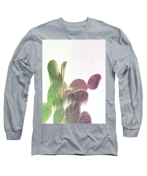 Glitch Cactus Long Sleeve T-Shirt
