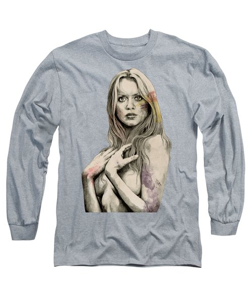 Gloria - Sexy Nude Woman Sketch Drawing, Tribute To Gloria Guida Long Sleeve T-Shirt