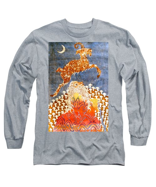 Goat Leaping Over Wood Elf Long Sleeve T-Shirt