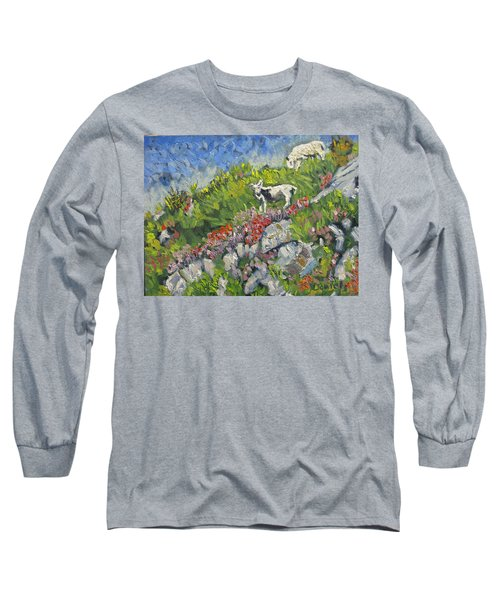 Long Sleeve T-Shirt featuring the painting Goats On Hill by Michael Daniels