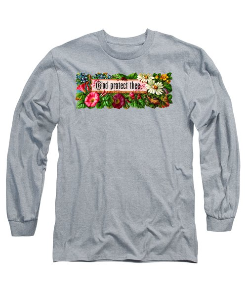 God Protect Thee Vintage Long Sleeve T-Shirt by R Muirhead Art