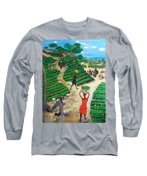 Long Sleeve T-Shirt featuring the painting Going To The Marketplace #4 -  Walking Through The Terraces by Nicole Jean-Louis