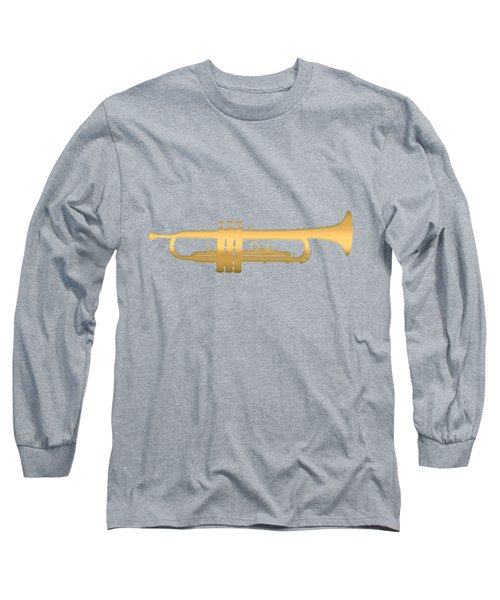 Gold Embossed Trumpet On Light Lavender Background Long Sleeve T-Shirt