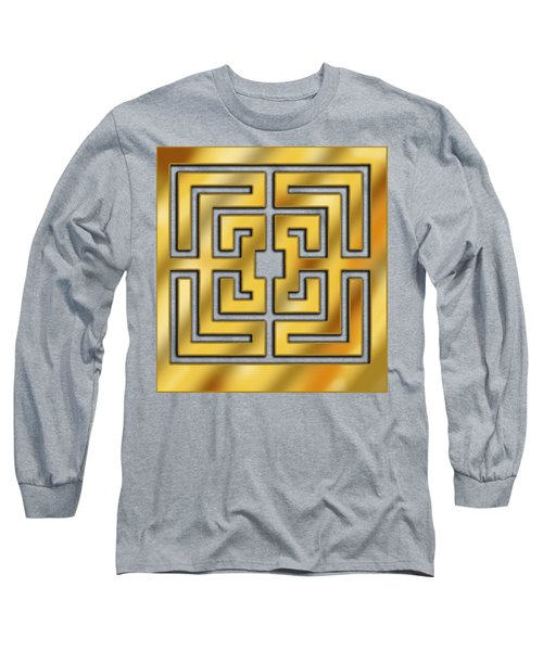 Long Sleeve T-Shirt featuring the digital art Gold Geo 3 - Chuck Staley by Chuck Staley