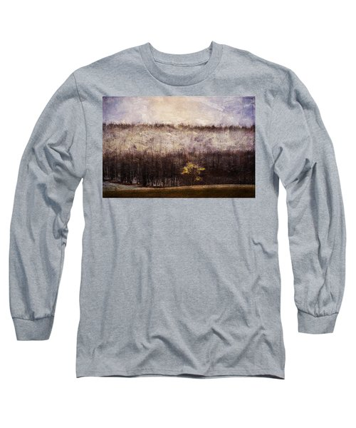 Gold Leafed Tree In Snow Long Sleeve T-Shirt