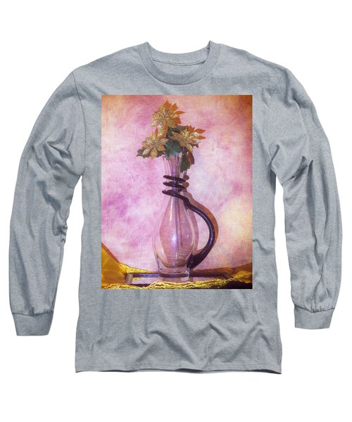 Gold On Pink Flowers Long Sleeve T-Shirt