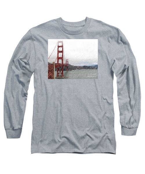 Golde Gate Rain Long Sleeve T-Shirt by Cheryl Del Toro