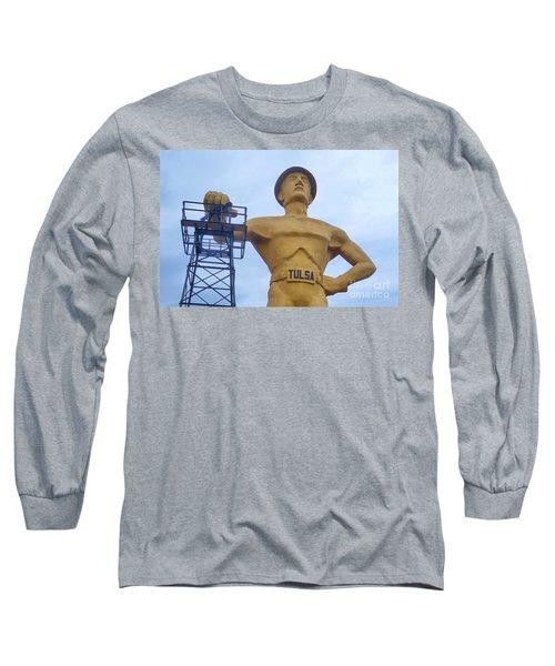 Golden Driller 76 Feet Tall Long Sleeve T-Shirt by Janette Boyd