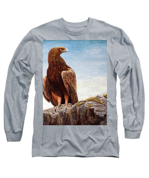Long Sleeve T-Shirt featuring the painting Golden Eagle by Judy Kirouac