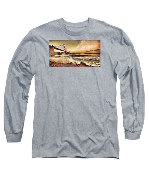 Long Sleeve T-Shirt featuring the photograph Golden Gate Bridge Waves by Steve Siri