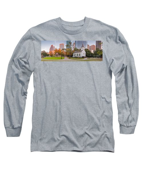 Golden Hour Fall Panorama Of Downtown Houston And St. John Church At Sam Houston Park - Texas Long Sleeve T-Shirt