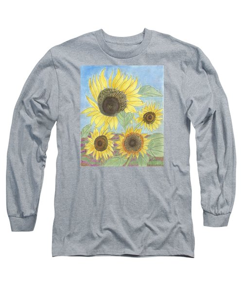 Long Sleeve T-Shirt featuring the drawing Golden Quartet by Arlene Crafton