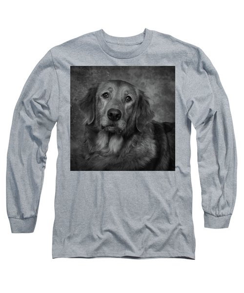 Golden Retriever In Black And White Long Sleeve T-Shirt by Greg Mimbs