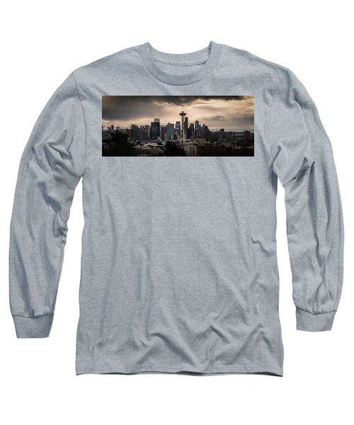 Long Sleeve T-Shirt featuring the photograph Golden Seattle by Chris McKenna