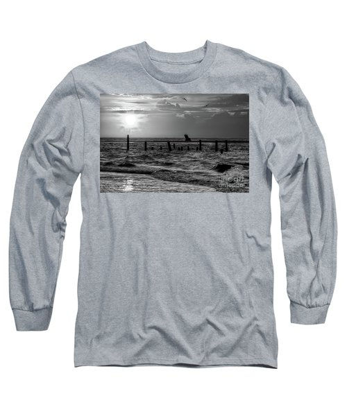 Long Sleeve T-Shirt featuring the photograph Golden Sunrise On The Outer Banks  Bw by Dan Carmichael