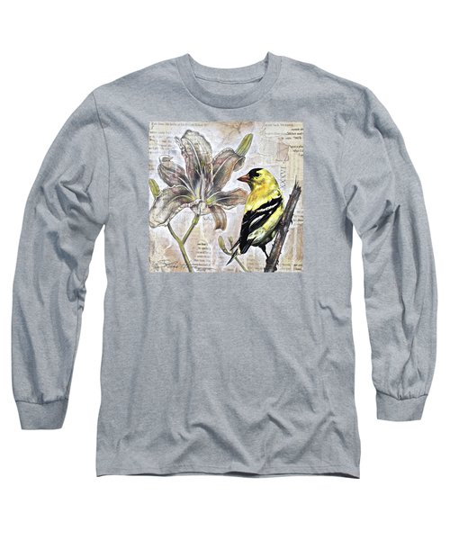 Long Sleeve T-Shirt featuring the painting Goldfinch And Lily by Sheri Howe