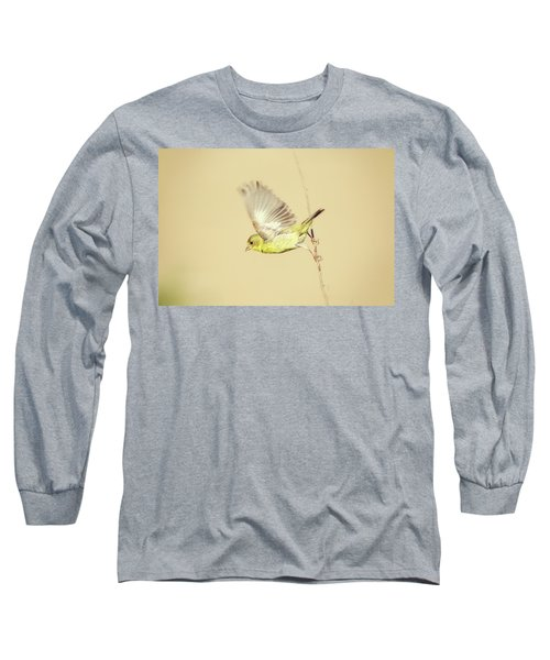 Goldfinch Flying Off  Long Sleeve T-Shirt