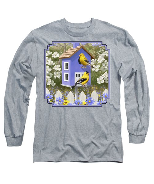 Goldfinch Garden Home Long Sleeve T-Shirt by Crista Forest