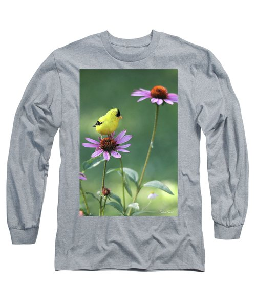 Goldfinch On A Coneflower Long Sleeve T-Shirt