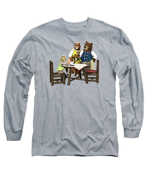 Long Sleeve T-Shirt featuring the painting Goldilocks N The 3 Bears by Methune Hively