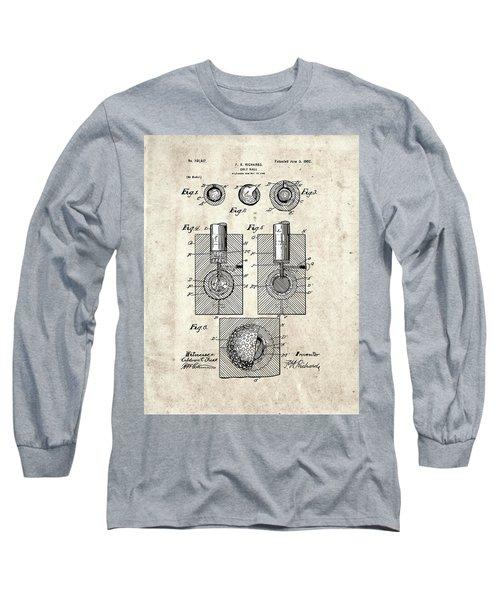 Golf Ball Patent Drawing Vintage 2 Long Sleeve T-Shirt