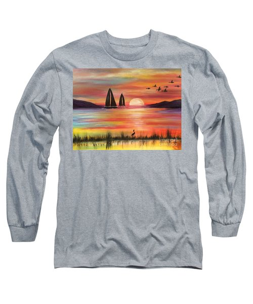 Long Sleeve T-Shirt featuring the painting Good Eveving by Denise Tomasura