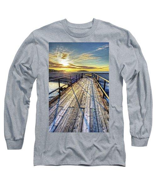 Good Harbor Beach Footbridge Shadows Long Sleeve T-Shirt