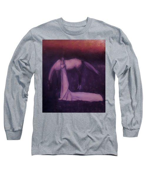 Long Sleeve T-Shirt featuring the painting Goodbye Purple Rain by Jarko Aka Lui Grande
